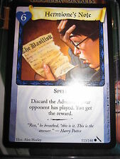 HARRY POTTER TCG GAME CARD CHAMBER OF SECRETS HERMIONE'S NOTE 113/140 COM EN