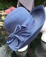 Mitzi Lorenz Boutique  Vintage Navy brimmed acetate hat 55cm