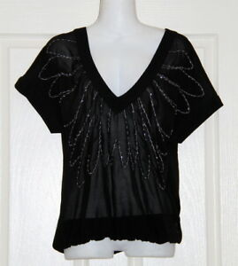 Womens size 8 black sheer beaded blouse made by JEANSWEST
