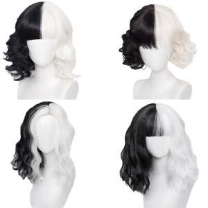 Anime Hair Halloween Cosplay Wig Half Black Half White Cruella Devil Role Play