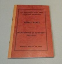 1952 B&O Baltimore and Ohio Railroad Safety Rules for Equipment Employees Book