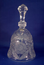 "Clear Pressed Glass Bell w/Clapper - Etched Floral Motif 7.25"" Estate Find"