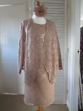 JACQUES VERT 12 M.O.B TAUPE LACE DRESS & DRAPED JACKET +FASCINATOR WORN 2 HOURS!
