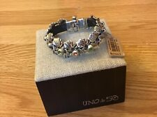 NWT Uno de 50 Leather Bracelet w/ Tropical Leaves/Crystals