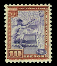 MEXICO 1934 Nat.University issue AZTECS /GODS 10pesos  Scott# 706 mint MNH XF RR