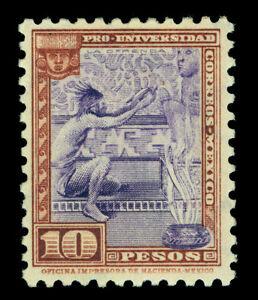 MEXICO 1934 Nat.University issue AZTECS /GODS 10pesos  Scott# 706 mint MNH XF RR