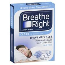 3 X Breathe Right Clear Regular Nasal Congestion Strips 30s