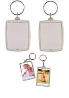 12 x Clear Photo Holder Key Chain Photo Holder Photo Frame Key Ring Pocket 6x8cm
