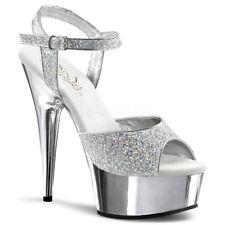"6"" Silver Glitter Platform Stripper Pole Dancer Delight Heels Shoes size 8 9 10"