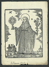 Holy card lamina antique recorded de San Ramon Nonato estampa santino