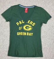 Nike Womens Size Medium Green Bay Packers T Shirt V Neck Graphic Top NFL