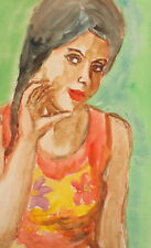 Vintage watercolor painting girl portrait