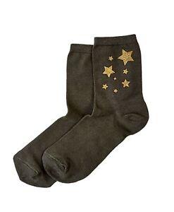 Hue Womens Metallic Star Socks Shadow Olive One Size