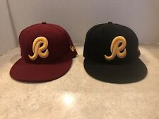"""2 New Era 59Fifty Size 7 1/4 7 1/8 Washington Redskins """"R"""" Fitted Hat Cap HTTR !"""