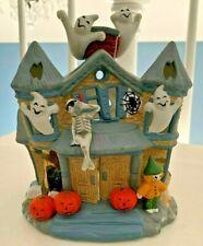 PartyLite Halloween Haunted Tealight House Ghosts Pumpkins Skeleton Retired