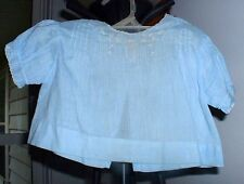 Vintage 1940'S Little Girl Topper Fine Blue Cotton Embrodiered Front