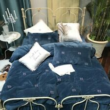 Flannel Crown Bedding Sets Fleece Warm Duvet Cover Set Bed Sheet Pillowcases