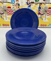 "8 Vintage Fiesta Bread Plates 6 1/4"" Original Cobalt Blue"