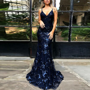 Women Formal Wedding Evening Cocktail Ball Gown Prom Party Bridesmaid Dress UK