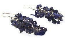 Lapis Lazuli Grape Vine Gemstone Crystal Chip Earrings