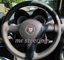FITS VOLKSWAGEN LUPO 1998-2005 REAL BLACK LEATHER STEERING WHEEL COVER
