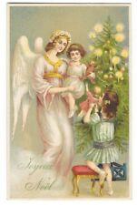 FANTAISIE NOEL carte postale ancienne gaufrée ange enfants sapin Joyeux Noel