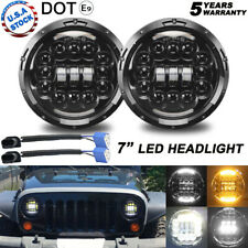 "Pair H6024 7"" Round LED Headlight w/ DRL For Freightliner Century Class 96-11"
