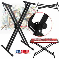X Frame Keyboard Stand - Double Braced- Portable, Strong & Adjustable Black