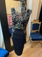 Ladies Dresses Christmas Party Black Gold Embroidered Midi Dress UK Made RRP£55