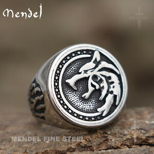 MENDEL Mens Norse Viking Wolf Head Claw Paw Ring Men Stainless Steel Size 7-15