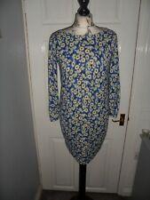 Ladies pretty NEXT blue & lemon floral jumper dress size 10 Ex con Must see!