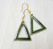 Handmade Ceramic Earrings, Holly Green Glazed Drop / Dangle Earrings 11-2