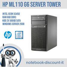 HP ProLiant ML110 G6 CPU Xeon X3430 Ram 8gb HDD 2x 500gb Server ** GRADO B **