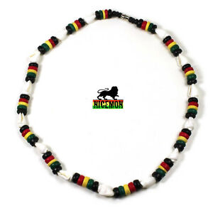 Rasta White Nasa Shell w/Rasta Coco Beads Reggae Necklace Marley Reggae 18""