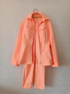 """Thierry Mugler """"Mugler Tradermark"""" orange 2 piece zipped jacket pant suit S-M"""