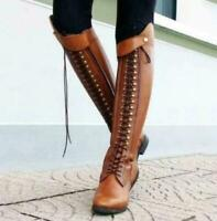Womens Lace Up Boots Knee High Stacked Heels Leather Tall Riding Shoes