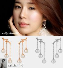Women 925 Gold Pearl Earrings Long Tassel Hook Dangle Ear stud Earrings UK