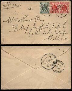 1910 Cover HONG KONG used HANKOW China to Bilbao, Spain