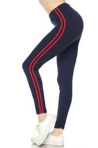 Navy/Red Women's Solid Stripes Sports Yoga Active Soft Leggings ONE SIZE OS 2-12