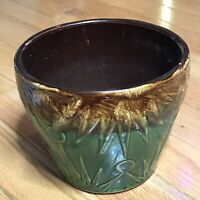 "Vintage RRP Co Pottery Sun Moon Brown Green Drip Glaze Planter Jardiniere 8"""