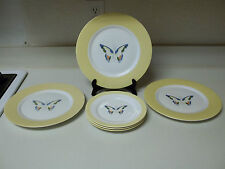 Nikita Translucent Fine China Butterfly's 3 Dinner & 3 Salad Plates Yellow