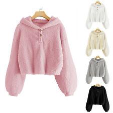 Kids Girls Fleece Hoodie Warm Loose Button Down Pullover Sherpa Jacket Top Coat