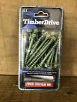 PACK 25 7mm x 75mm Timber Fixing Screw Raised Bed Sleepers Green Garden WITH BIT