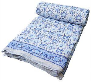 Indian Cotton Hand Block Print Razai Reversible Ethnic Bedspread Blanket Quilt