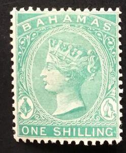 Bahamas Queen Victoria 1898 1/- Blue Green P14  M/Mint SG 44a. (cat £38)