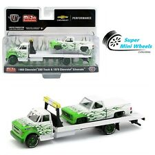 M2 Machines 1:64 - 1976 Chevy C60 With 1979 Chevy Silverado (White & Green Fire)