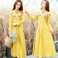 Womens Slim Fit 3/4 Sleeve Embroidered Knee Length A-Line Dress Casual Party G
