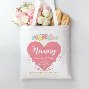 Personalised printed white tote bag Nanny heart floral love bag Mothers Day gift