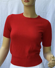 Ralph Lauren Cashmere Shirt Sweater Womens L Large Red Short Sleeve