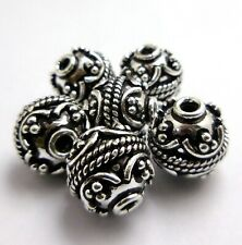 5 PCS 10MM SOLID COPPER BALI BEAD OXIDIZED STERLING SILVER PLATED B 4